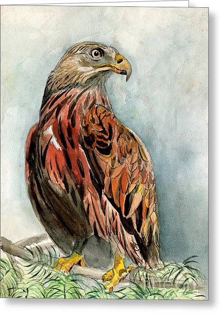 Red Eagle Greeting Card by Genevieve Esson