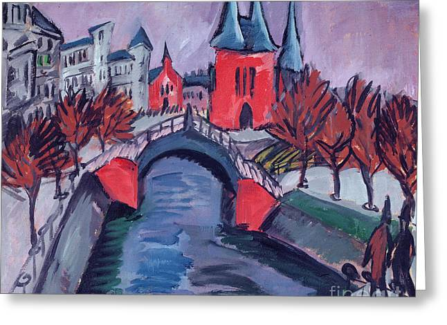 Red Elisabeth Riverbank Berlin Greeting Card by Ernst Ludwig Kirchner