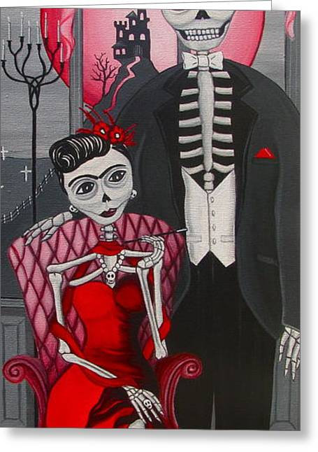 Red Engagement - Frida Y Diego Greeting Card by Evangelina Portillo