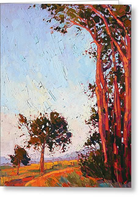 Greeting Card featuring the painting Red Eucalyptus  by Erin Hanson