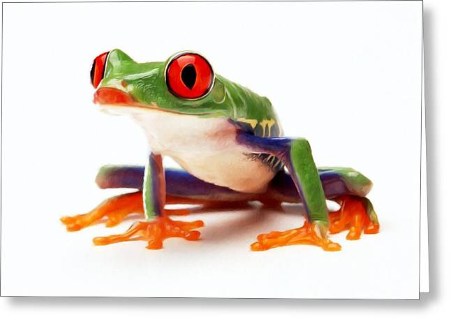 Red-eye Tree Frog 1 Greeting Card by Lanjee Chee
