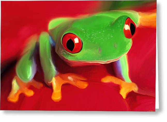 Red Eye Tree Frog Greeting Card by Paul Tagliamonte