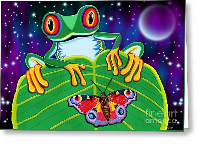 Red Eyed Tree Frog And Moth Greeting Card