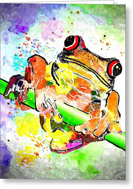 Red Eyed Tree Frog Grunge Greeting Card by Daniel Janda