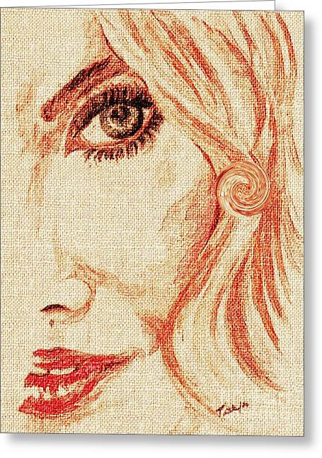 Red Eyes.  Greeting Card by Teresa White