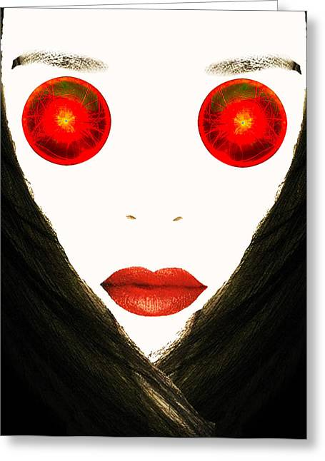 Red Eyes Greeting Card by Bruce Iorio