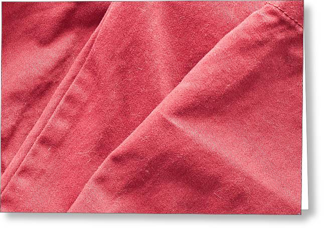 Red Fabric Greeting Card by Tom Gowanlock