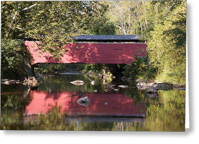 Red Fairhill Covered Bridge Two Greeting Card by Alice Gipson