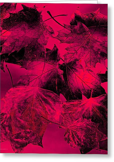 Red Fall Leaf Art Greeting Card by Mario Perez