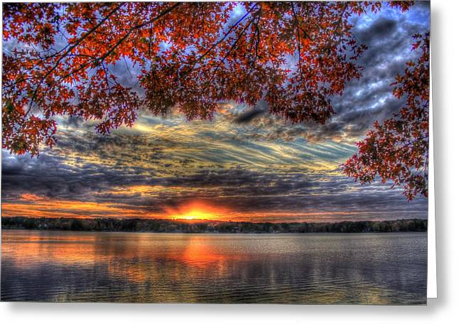 Good Bye Till Tomorrow Fall Leaves Sunset Lake Oconee Georgia Greeting Card by Reid Callaway