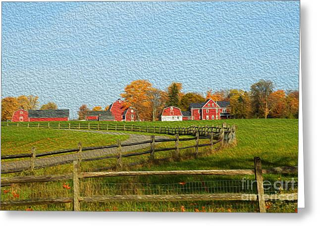 Red Farm House And Barns Greeting Card
