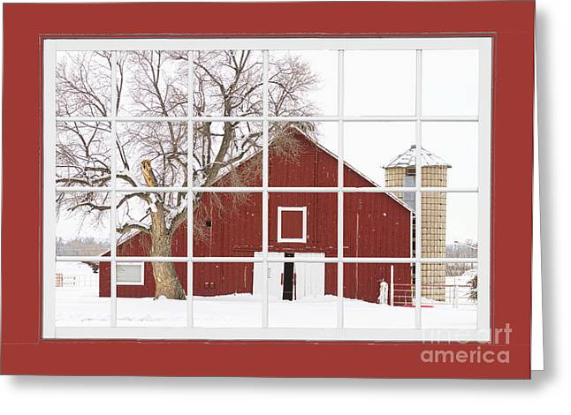 Red Farm House Picture Window Red Barn View  Greeting Card