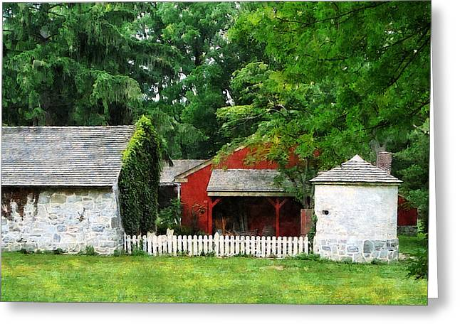 Red Farm Shed Greeting Card by Susan Savad