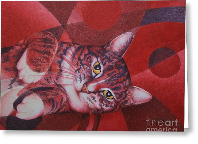 Greeting Card featuring the painting Red Feline Geometry by Pamela Clements