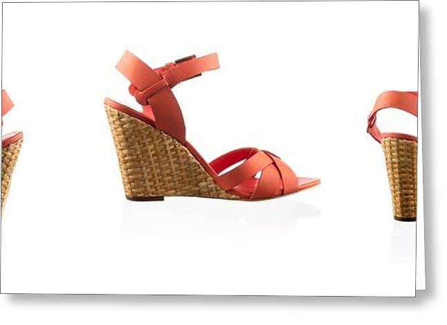 Red Female Shoes Over White Greeting Card by Nikita Buida