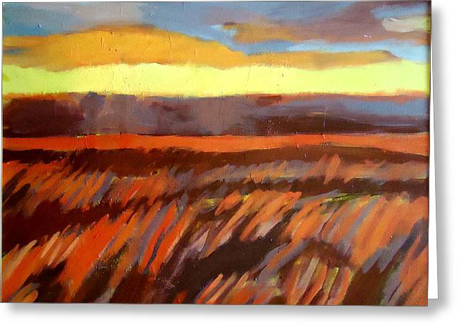 Greeting Card featuring the painting Red Field by Helena Wierzbicki