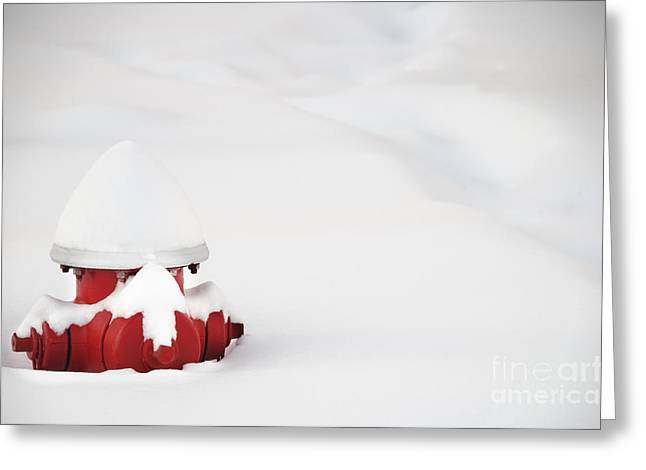 Red Fired Hydrant Buried In The Snow. Greeting Card by Oscar Gutierrez
