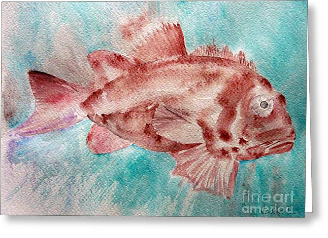 Greeting Card featuring the painting Red Fish by Jasna Dragun