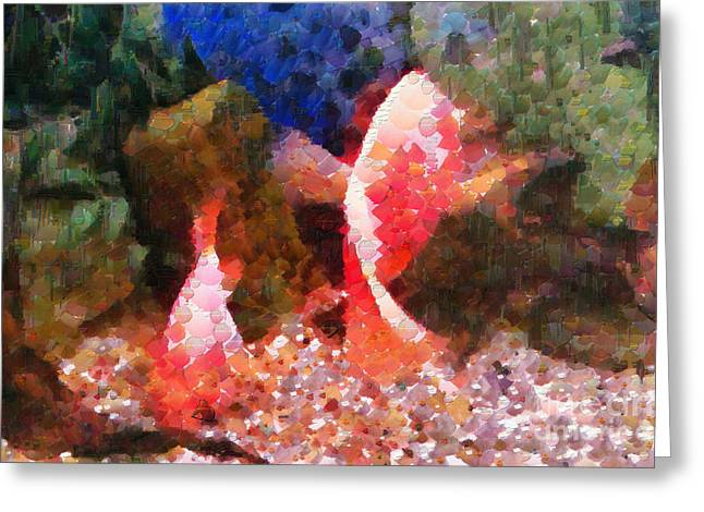 Red Fishes Painting Greeting Card by Magomed Magomedagaev