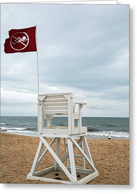 Red Flag At A Beach Greeting Card by Jim West