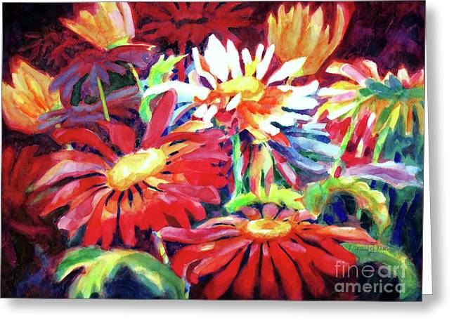 Red Floral Mishmash Greeting Card by Kathy Braud