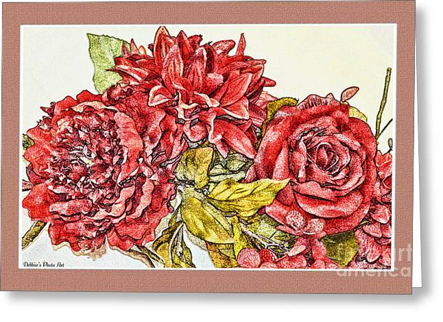 Red Floral Photoart Greeting Card by Debbie Portwood