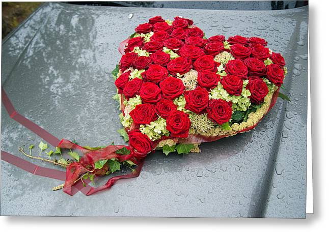 Red Flower Heart With Roses - Beautiful Wedding Flowers Greeting Card by Matthias Hauser