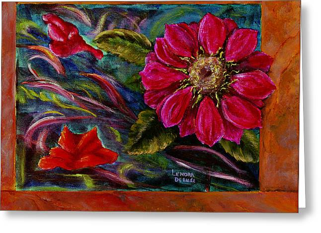 Greeting Card featuring the painting Red Flower In Rust And Green by Lenora  De Lude