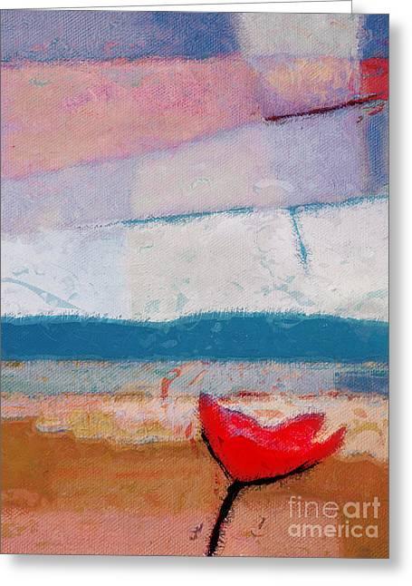 Red Flower Greeting Card by Lutz Baar