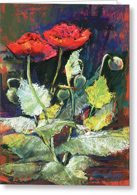 Red Flowers Greeting Card by Beverly Amundson
