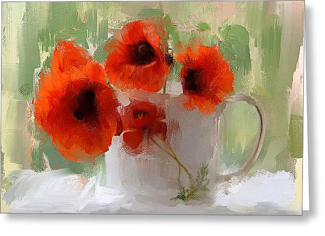 Red Flowers In A Cup Greeting Card by Yury Malkov