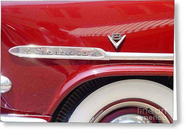 Greeting Card featuring the photograph Red Ford Crestline V8 by Ecinja Art Works