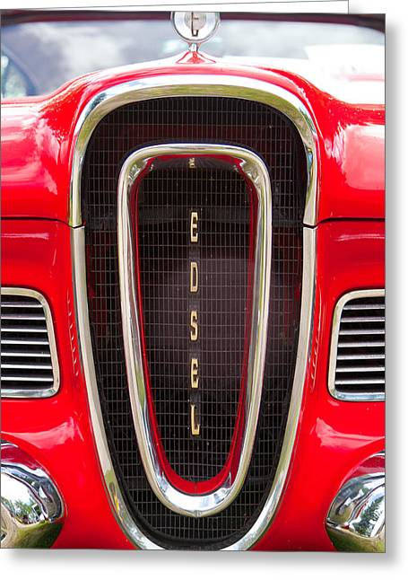 Greeting Card featuring the photograph Red Ford Edsel Grill Detail by Mick Flynn