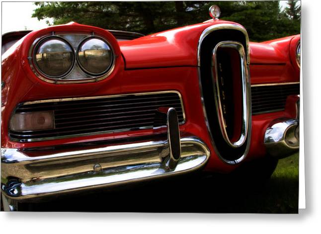 Greeting Card featuring the photograph Red Ford Edsel by Mick Flynn