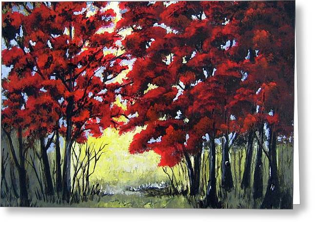 Greeting Card featuring the painting Red Forest by Suzanne Theis