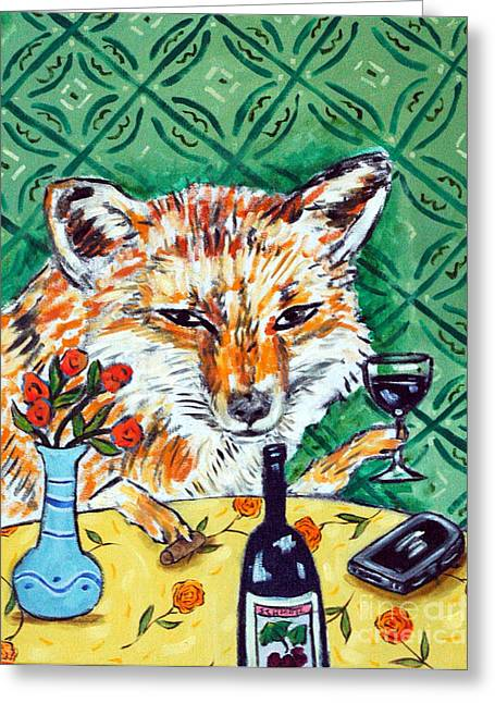 Red Fox At The Wine Bar Greeting Card by Jay  Schmetz