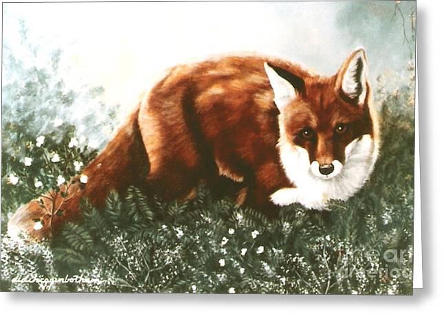 Red Fox Hunting Greeting Card by DiDi Higginbotham
