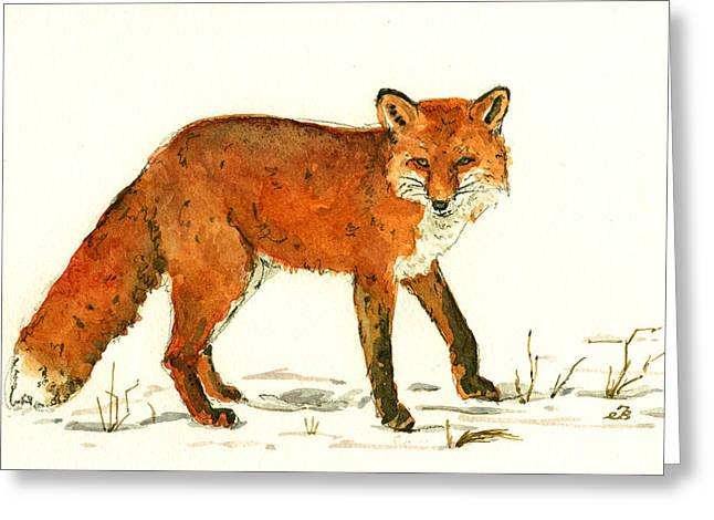 Red Fox In The Snow Greeting Card by Juan  Bosco