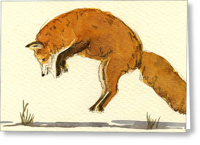 Red Fox Jumping Greeting Card by Juan  Bosco