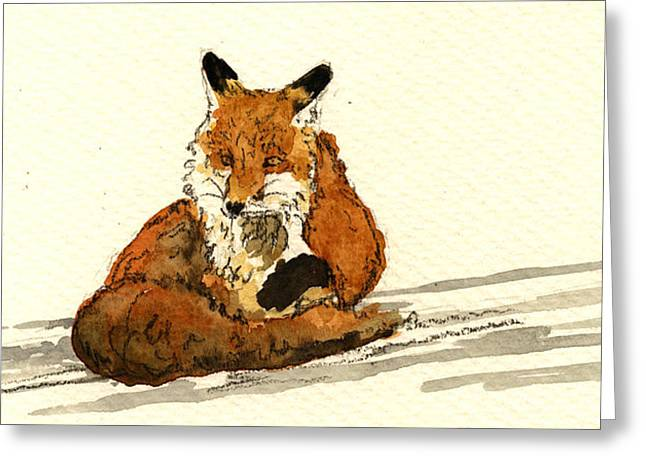 Red Fox Sitting Snow Greeting Card