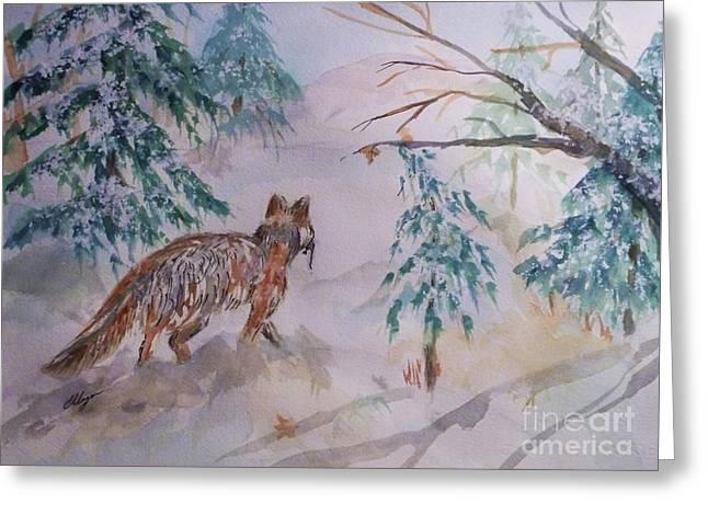 Red Fox - Winter Dawn Greeting Card by Ellen Levinson