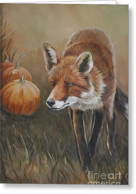 Red Fox With Pumpkins Greeting Card by Charlotte Yealey