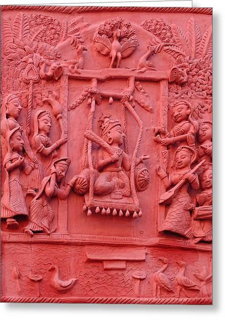 Red Fresco Palace King Women Music 6 Udaipur Rajasthan India Greeting Card