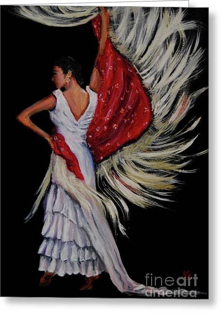 Red Fringed Scarf Greeting Card by Nancy Bradley