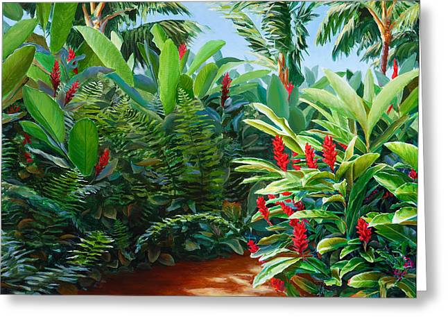 Red Garden Hawaiian Torch Ginger Greeting Card by Karen Whitworth