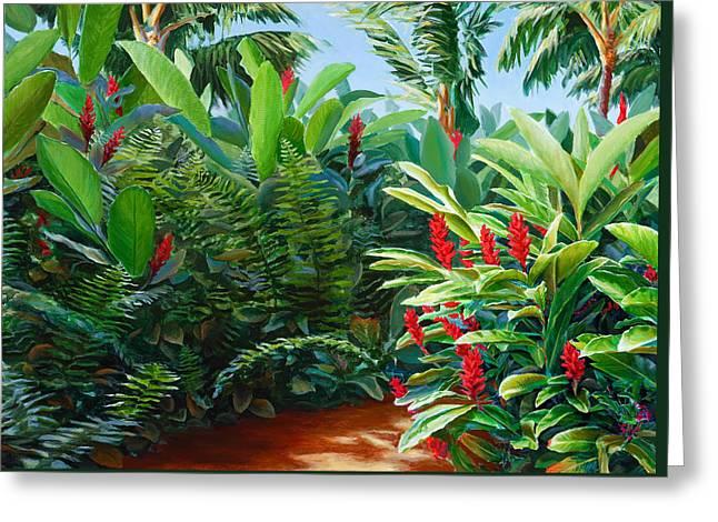Tropical Jungle Landscape - Red Garden Hawaiian Torch Ginger Wall Art Greeting Card