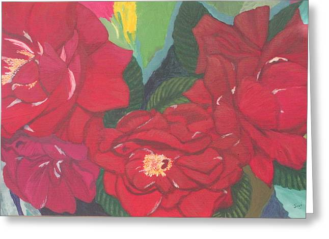 Greeting Card featuring the painting Red Garden Roses by Hilda and Jose Garrancho
