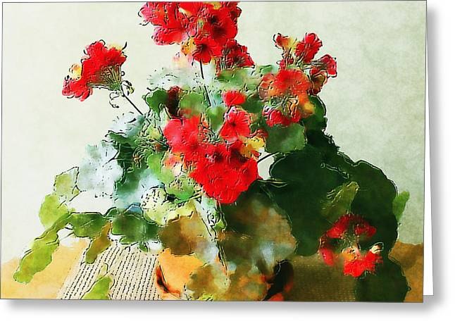 Red Geraniums In A Flower Pot Greeting Card