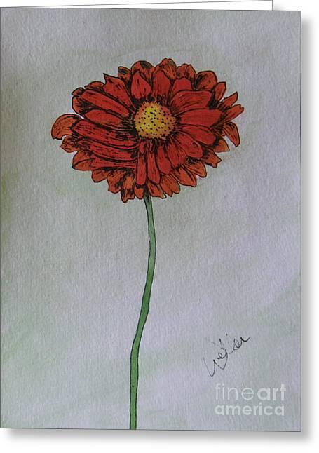 Red Gerbera Greeting Card by Marcia Weller-Wenbert