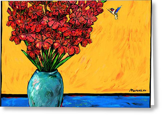 Red Glads With Hummingbird Greeting Card by Dale Moses